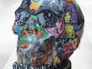 tête de mort skull auto-collant sticker bomb art artistique artist peinture paint sculpture clay creation design décoration deco home maison minimaliste arty