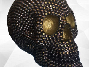 tête de mort skull or gold strass art artistique artist peinture paint sculpture clay creation design décoration deco home maison minimaliste arty