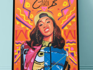 CARDI-B offset rappeur rapper hiphop toile canvas  art artistique artist peinture paint sculpture clay creation design décoration deco home maison minimaliste arty
